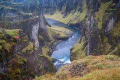 Глубокое исландское ущелье Стоковые Фото
