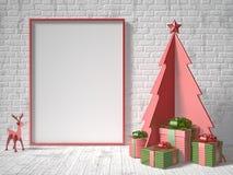 Глумитесь вверх по пустым картинной рамке, украшению рождественской елки и подаркам Стоковая Фотография