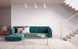 Глумитесь вверх по стене в интерьере с лестницами и софой hipst живущей комнаты Стоковая Фотография RF