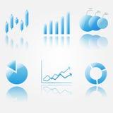 Глянцеватые голубые иконы диаграммы Стоковые Изображения