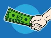давать деньги руки Иллюстрация вектора