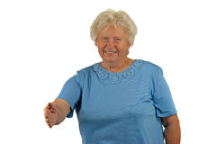 давать женщину старшия рукопожатия руки Стоковое Изображение
