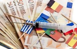 давление евро вниз Стоковые Изображения