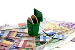 давление евро вниз Стоковая Фотография