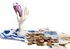 давление евро греческое вниз Стоковые Изображения