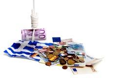 давление евро греческое вниз Стоковое Изображение RF