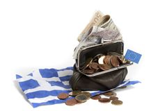 давление евро греческое вниз Стоковые Изображения RF