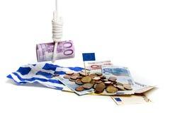 давление евро греческое вниз Стоковая Фотография RF