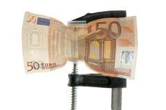 давление примечания евро банка вниз Стоковые Изображения