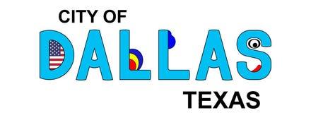 Даллас - Техас, абстрактная надпись в сини Стоковые Изображения RF