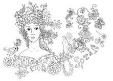 Дама Весна Сторона нарисованная рукой милая Стоковое Фото