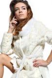 Дама в белом мехе Стоковые Изображения RF