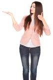Дама в джинсах и блейзере, изолированных на белизне Стоковые Изображения RF
