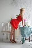 Дама в красном цвете Стоковое фото RF