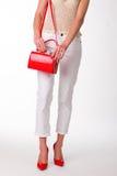 Дама в красных ботинках стоковые фото