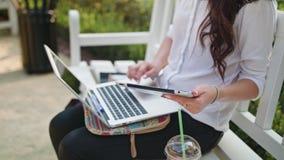 Дама в парке используя компьтер-книжку и таблетку видеоматериал