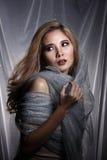Дама в предпосылке звезды с задрапировывает серую серебряную ткань ha яркого блеска стоковые фото
