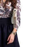 Дама в рубашке с сумкой Стоковые Фото