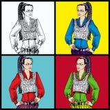 Дама дела в стеклах с ponytail различные цветы successful woman Стоковые Фотографии RF