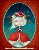 Дама Зима в овальной рамке Стоковое Изображение RF