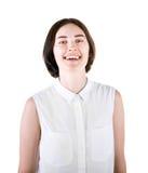 Дама изолированная на яркой предпосылке Счастливый студент в белой блузке Профессиональная дама Excited девушка шарики габаритные стоковые изображения rf