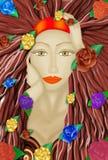 Дама и розы иллюстрация вектора