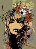 Дама и цветки иллюстрация вектора