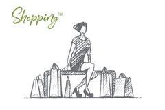 Дама нарисованная рукой стильная сидя с хозяйственными сумками Стоковые Фотографии RF