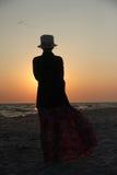 Дама на заходе солнца Стоковые Фото