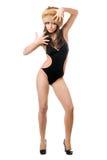 Дама представляя в купальнике и мех-крышке стоковое фото