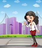 Дама при черные чулки стоя на пешеходной майне иллюстрация вектора
