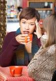Дама с головной болью в кафе Стоковое Изображение