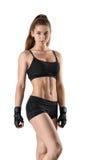 Дама фитнеса выреза показывая торс стоит и смотрит сразу на камере Стоковые Фотографии RF