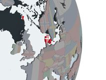 Дания с флагом на глобусе иллюстрация штока