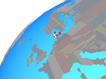 Дания с флагом на глобусе иллюстрация вектора