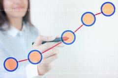 Данные по диаграммы касания ручки женщины Стоковые Изображения