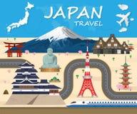 Данные по перемещения и путешествия ориентир ориентира предпосылки перемещения Японии глобальные иллюстрация штока