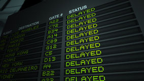 данные по полета авиапорта задержанные доской Стоковое фото RF