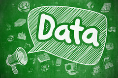 Данные - рука нарисованная иллюстрация на зеленой доске Стоковые Фотографии RF
