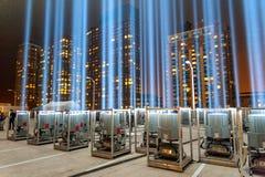 Дань 911 в светлый светить в небо Стоковые Изображения
