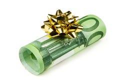 Дарить банкноты евро как подарок Стоковое Изображение RF