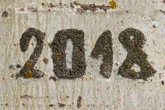 Дата 2018 выгравированная на дереве стоковые изображения