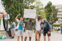 ДАТА: 30 могут 2015 ПОЛОЖЕНИЕ: Sintagma в Афинах Греции СОБЫТИЕ: 30-ое может вновь собраться день в памяти павших героев Biafrans Стоковое Изображение RF