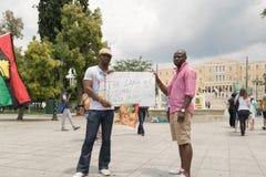 ДАТА: 30 могут 2015 ПОЛОЖЕНИЕ: Sintagma в Афинах Греции СОБЫТИЕ: 30-ое может вновь собраться день в памяти павших героев Biafrans Стоковые Изображения RF