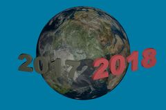 Дата 2018 Нового Года над 2017 иллюстрация 3d представляет Стоковое Изображение