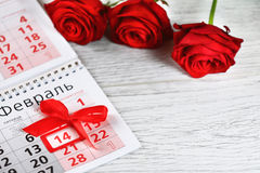 Дата дня валентинки 14-ое февраля Стоковые Изображения