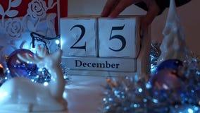 Дата 25-ое декабря преграждает календарь пришествия Стоковая Фотография RF