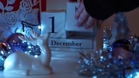 Дата 17-ое декабря преграждает календарь пришествия сток-видео