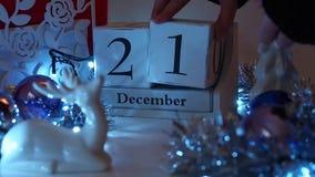 Дата 21-ое декабря преграждает календарь пришествия сток-видео