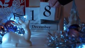 Дата 18-ое декабря преграждает календарь пришествия сток-видео